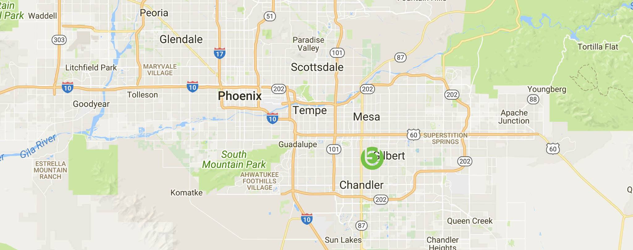 Gilbert AZ personal injury law firm Tobin and Dove PLLC Map