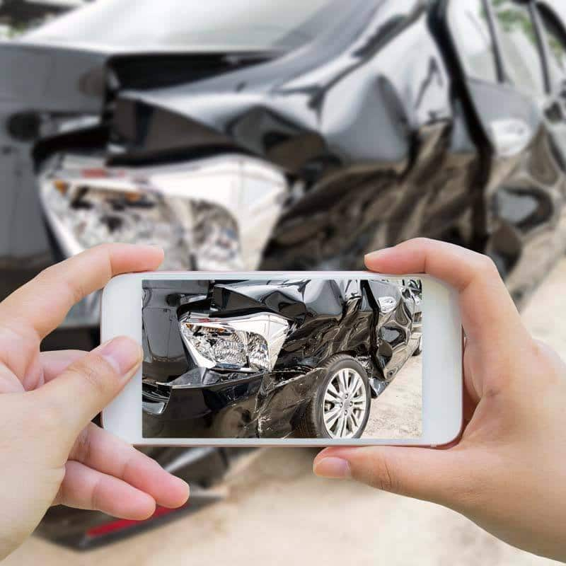 Collect photo and video evidence of the Arizona car crash and personal injuries